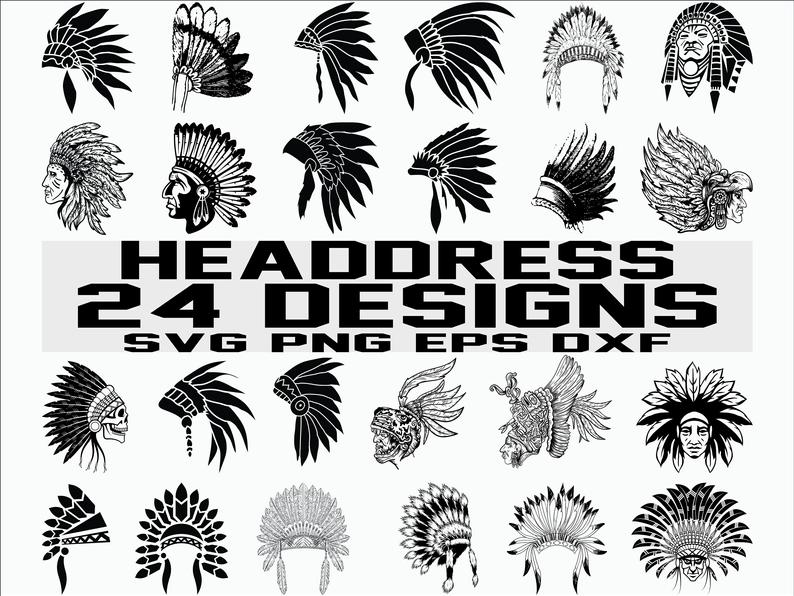 Headdress svg/ indian svg/ indian headdress/ tribal svg/ chief/ indian  chief/ tribe/ clipart/ decal/ stencil/ silhouette/ cut file/ iron on.