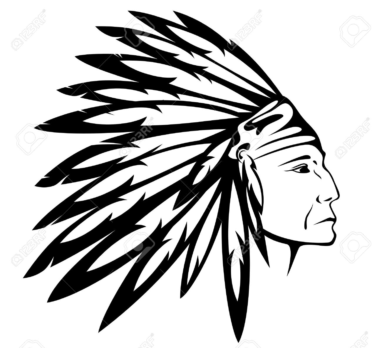 Indian Headdress Clipart Black And White.