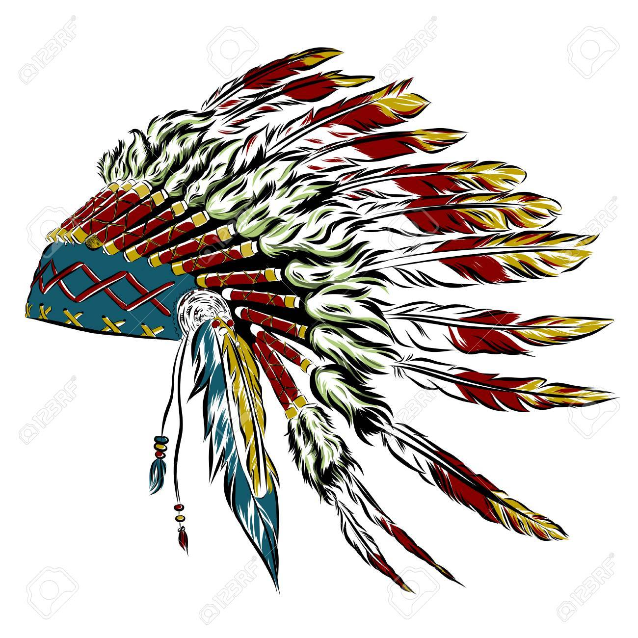 Native American indian headdress with feathers in a sketch style.