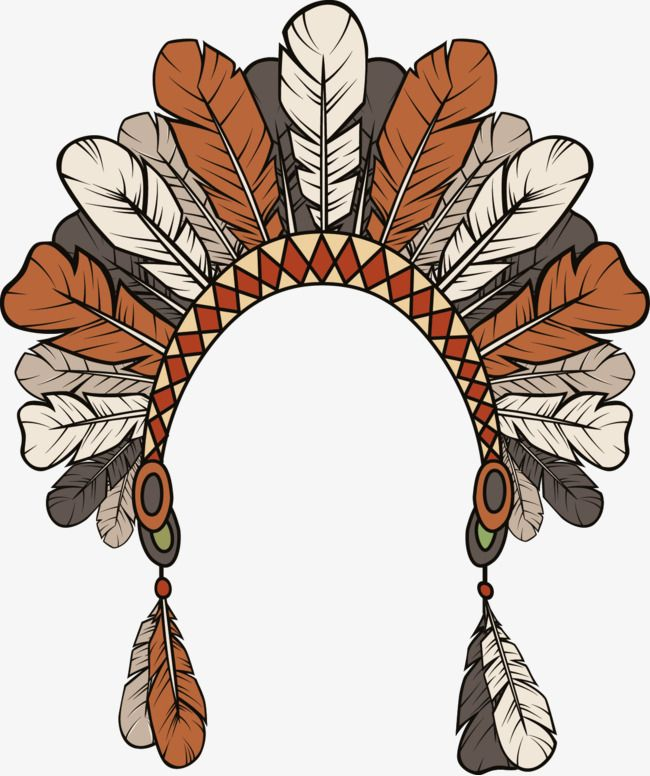 Vector Hand Painted Indian Feather Headdress, Vector, Hand Painted.