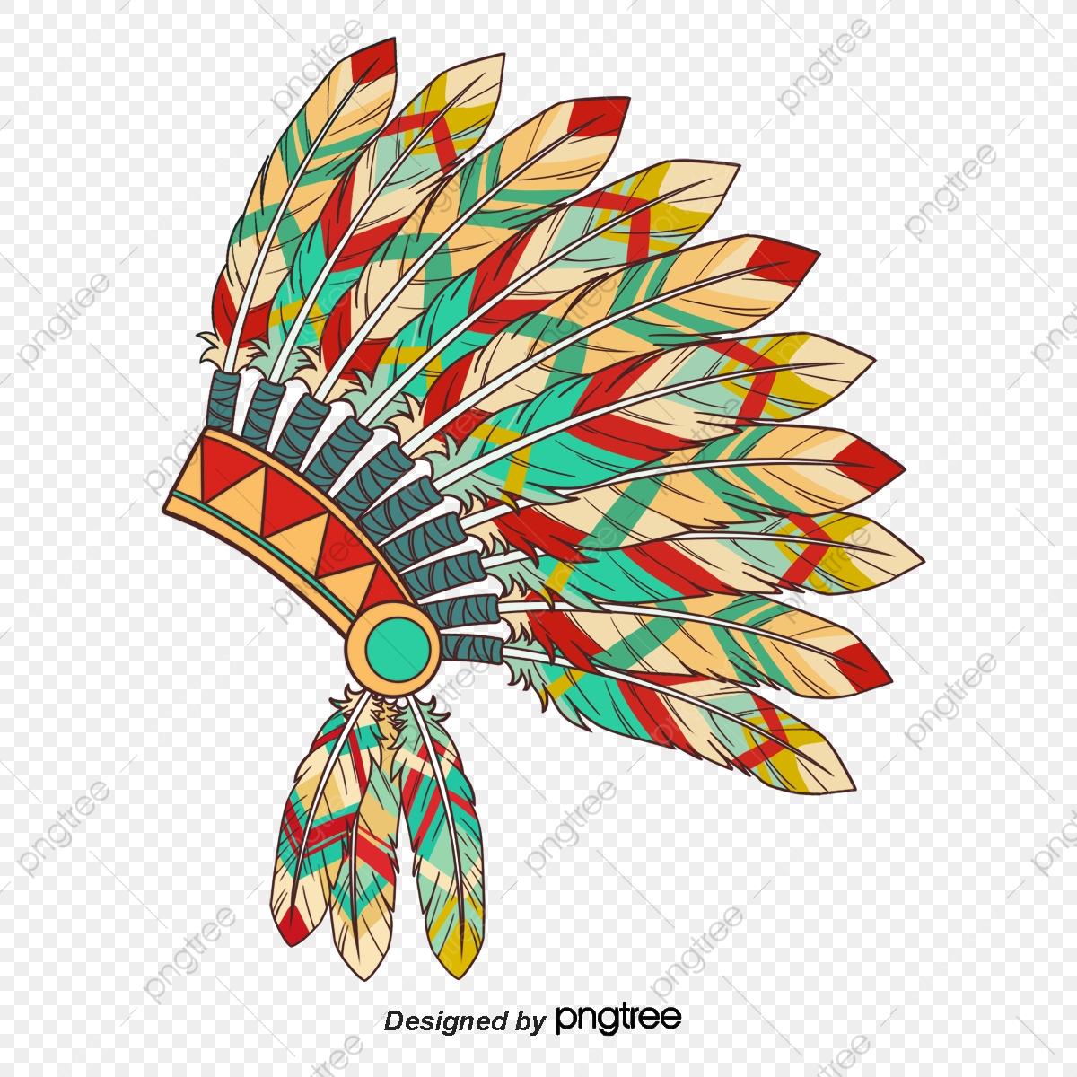 Indian Feather Headdress, Boho, Indian, Indian Headdress PNG.