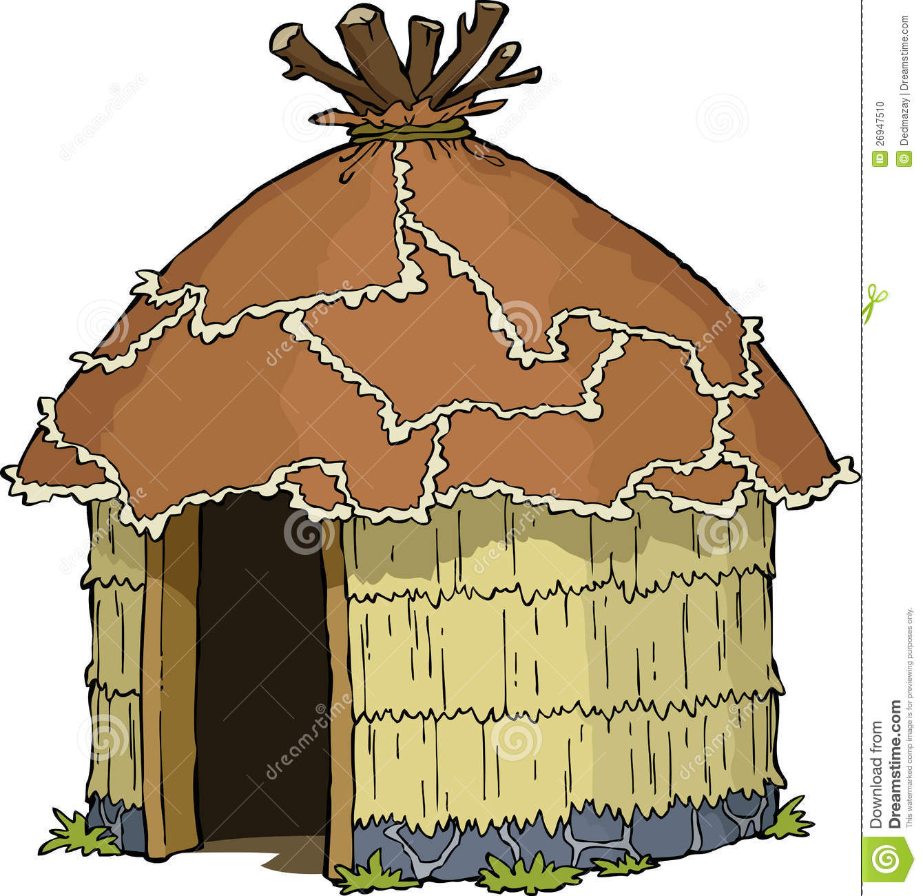 Indian huts clipart.