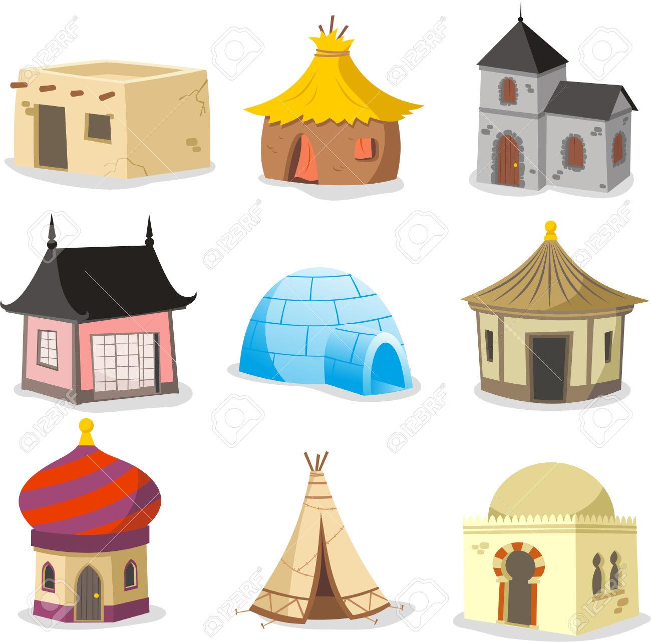 Set Of Traditional Houses. With House, Igloo, Hut, Shack, Slum.