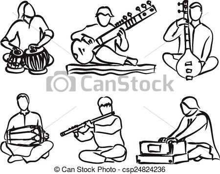 Indian classical music instruments clipart.