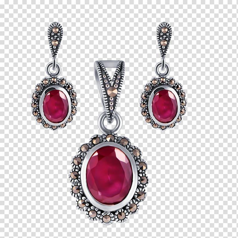 Earring Ruby Jewellery Gemstone Locket, indian Jewelry.