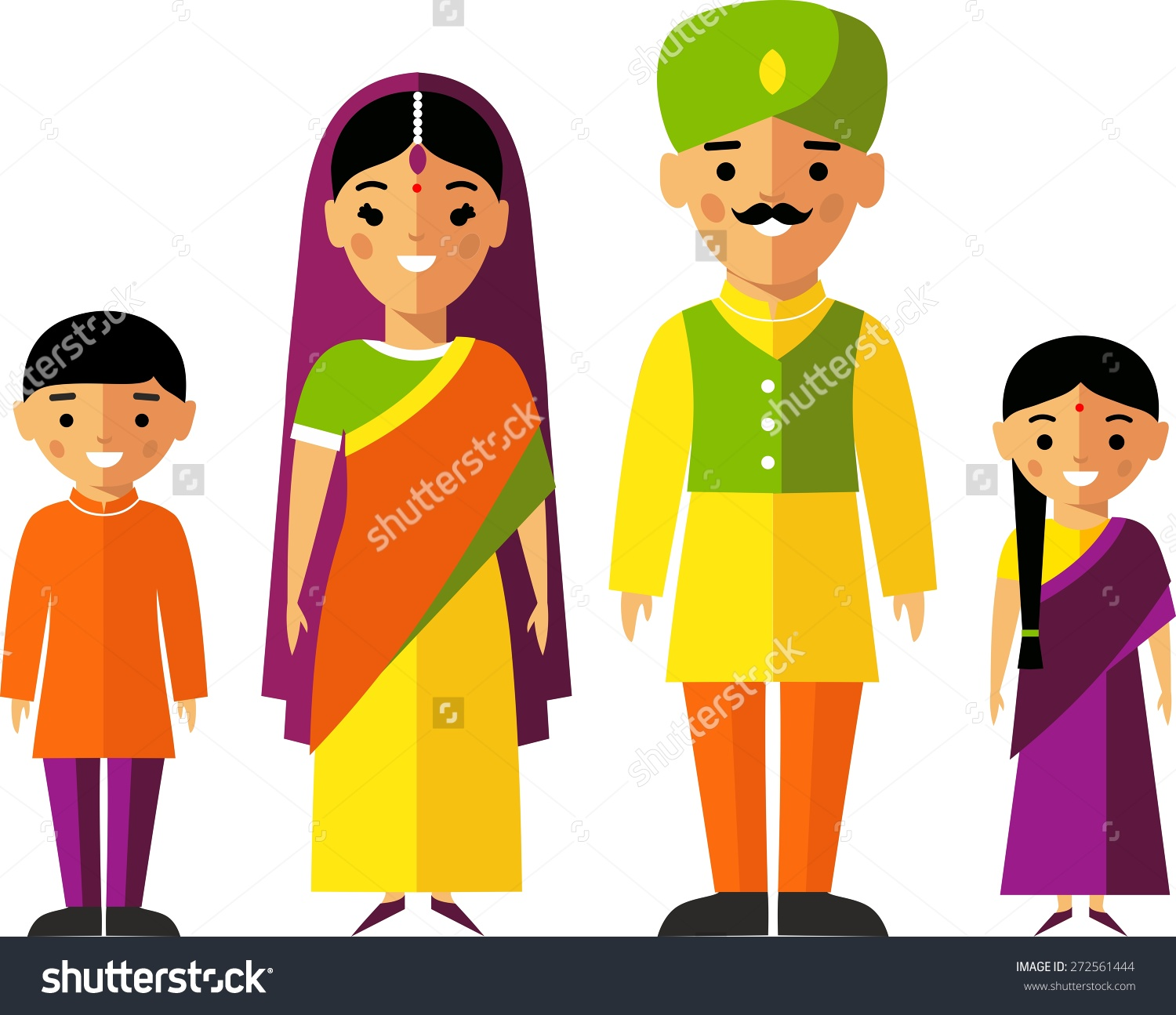 Traditional Indian Kids Clipart.