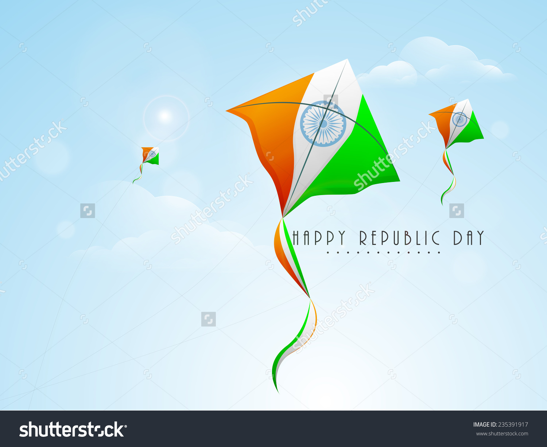 Indian Republic Day Celebration Flying Kites Stock Vector.