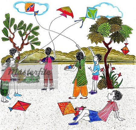 Kids flying kites on Indian independence day.
