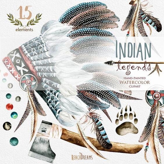 Indian legends. Watercolor Headdresses Clipart, Warbonnet, Indian.