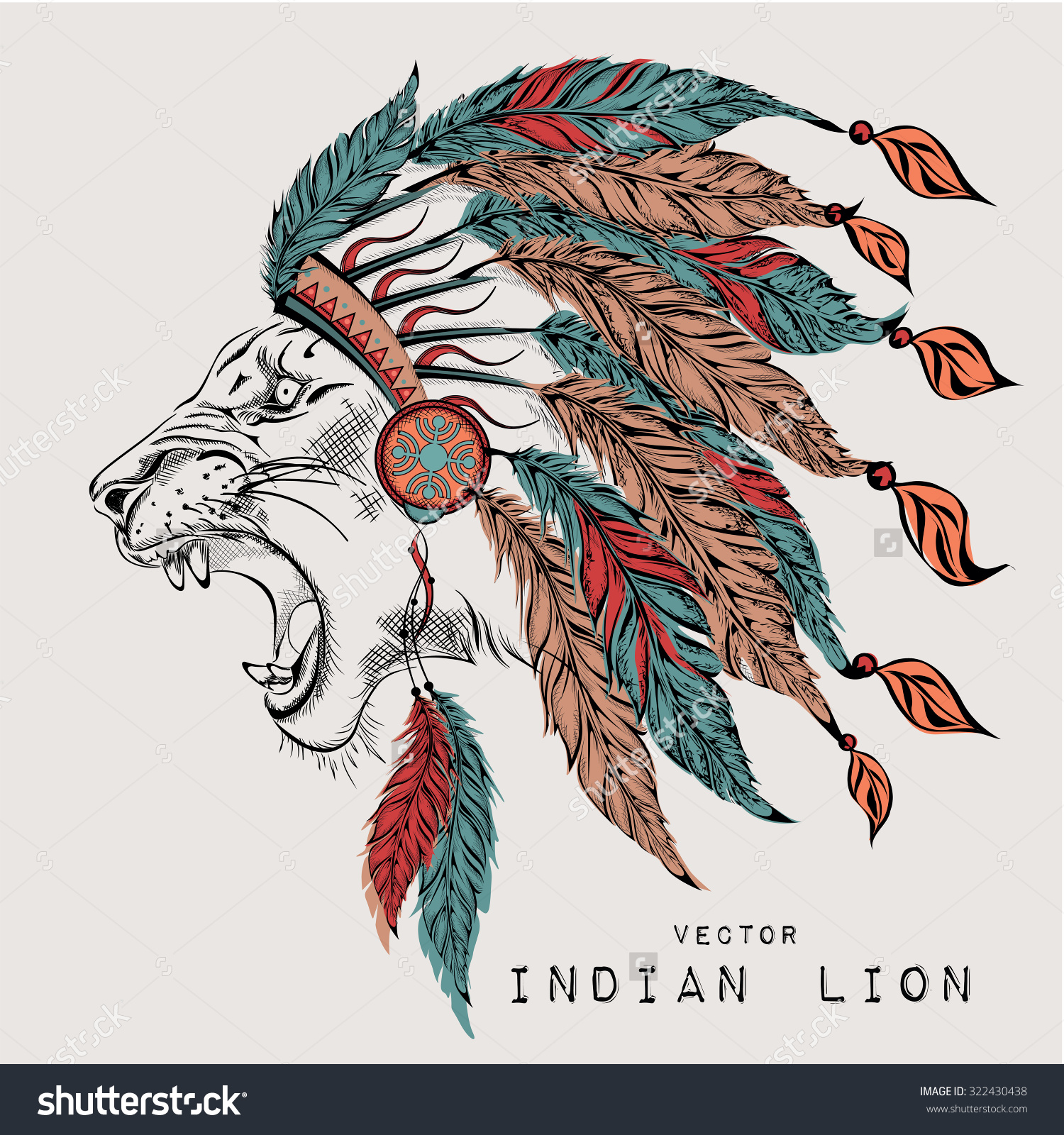 Lion Colored Indian Roach Indian Feather Stock Vector 322430438.
