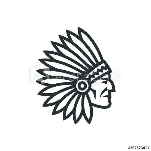 American native chief head icon. Indian logo.