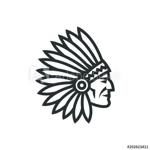 American native chief head icon. Indian logo.