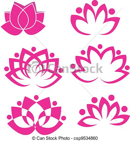 Vector Clipart of Set of lotus flowers logo vector csp9534860.