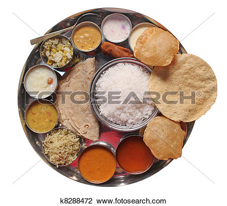 Stock Photo of Traditional indian lunch food and meals k8288472.