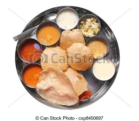 Picture of Traditional south indian lunch with puri and sambar.