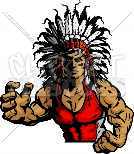 Wrestling Indian Chief Mascot Graphic Vector Image.