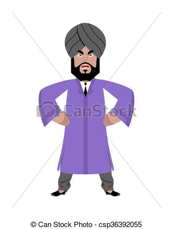 Clipart Vector of Angry Indian businessman. Man from India in.