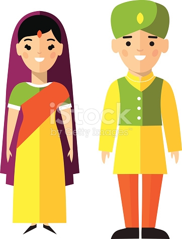 Vector Illustration Of Indian Male And Female stock vector art.