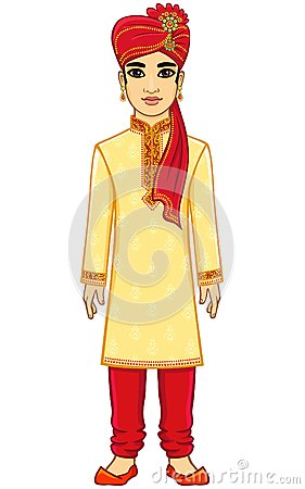 Animation Indian Man. Stock Vector.
