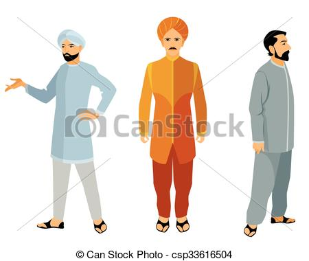 Vector Clipart of Three indian men in dress.