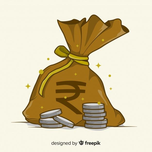 Indian rupee money bag Vector.