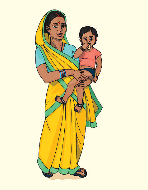 Best Indian Mother And Child Illustrations, Royalty.