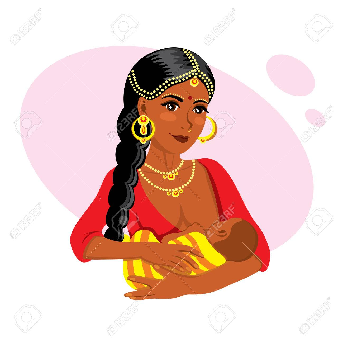 Vector illustration of young Indian mother holding her newborn...