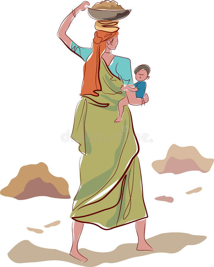 Indian Mother Stock Illustrations.