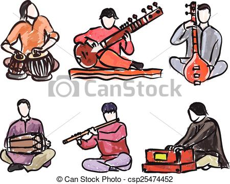 Clipart Vector of vector set of indian musician playing.