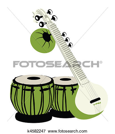 Clipart of pattern background of indian musical instruments.