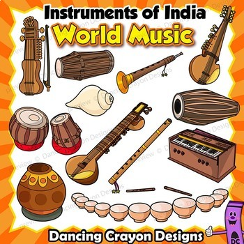 Musical Instruments of India Clip Art BUNDLE.