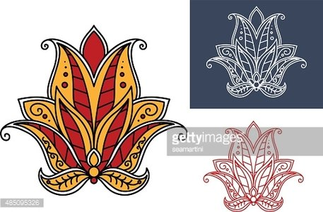 Indian paisley flower with red and orange petals Clipart.