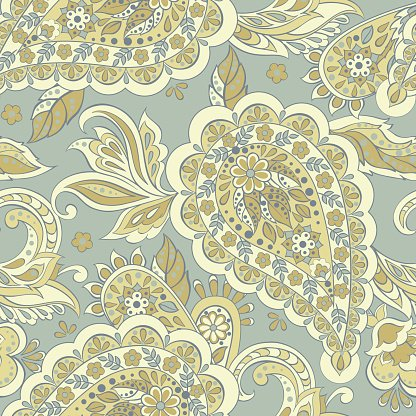 Seamless Paisley pattern in indian textile style. Floral.