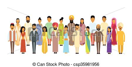 Vector Clip Art of Indian People Businessman Group Traditional.