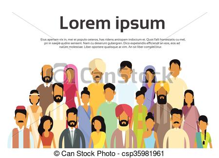 Clip Art Vector of Indian Business People Group, India Crowd Team.