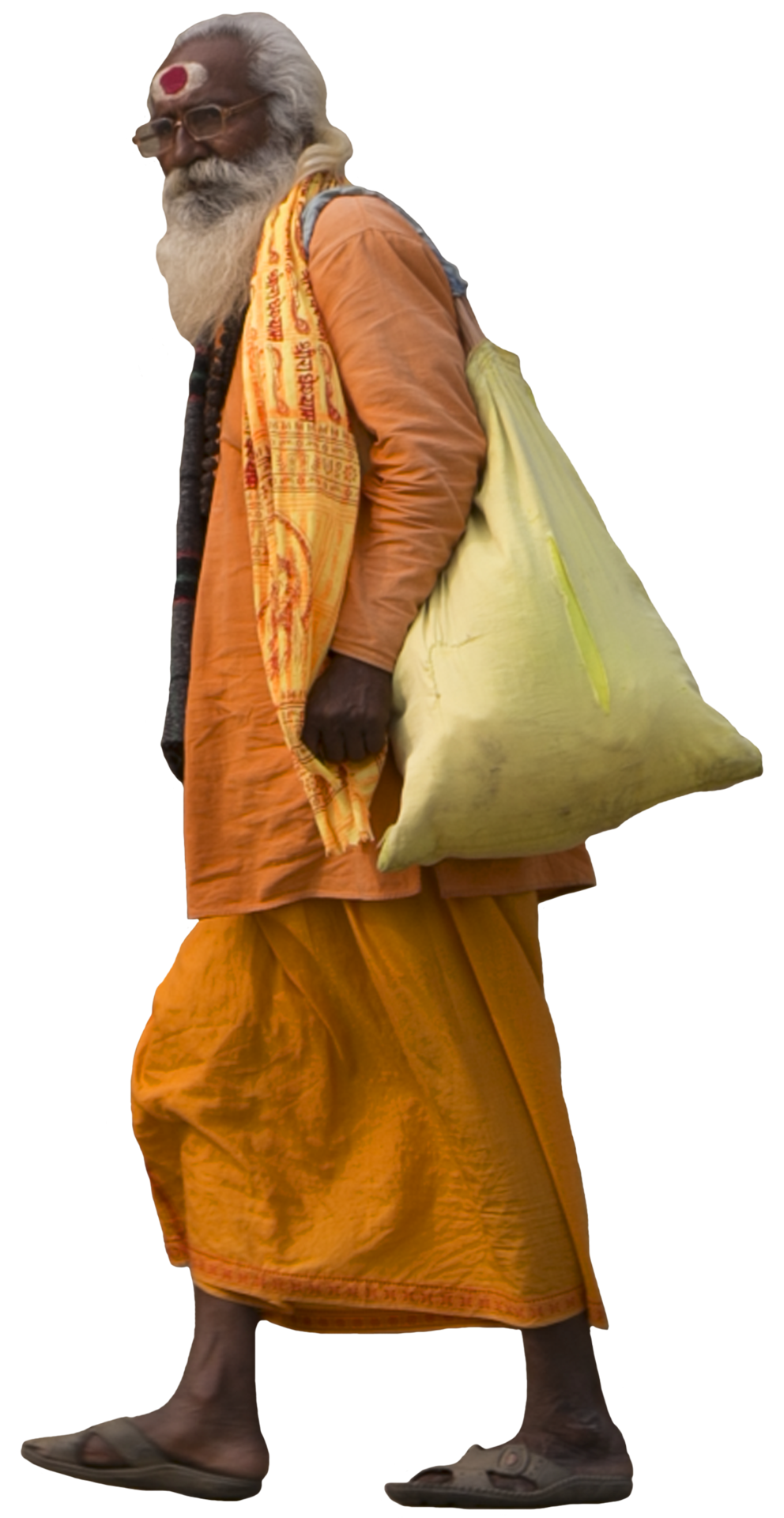 jugaad render, sadhu walking, man walking indian cutout.