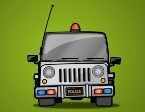 Indian Police Jeep Clipart.