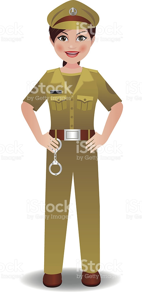 Indian Police Woman In Uniform Standing With Hands On Hips stock.