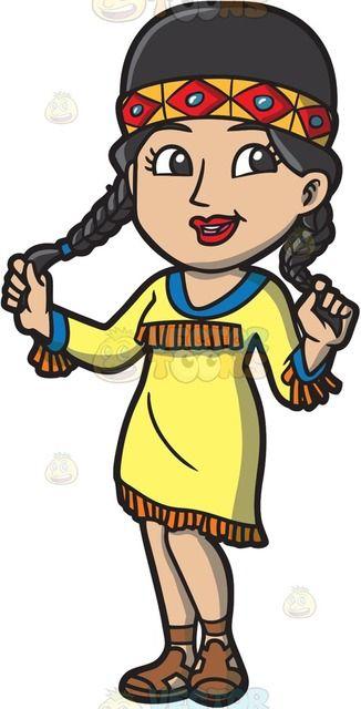 A Native Indian Princess Cartoon Clipart.