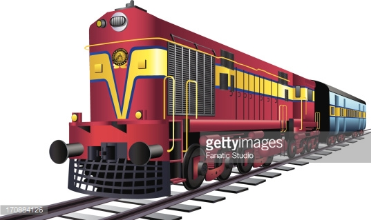 Indian Passenger Train Clipart.