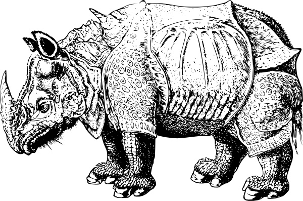 Renaissance Rhino clip art Free vector in Open office drawing svg.