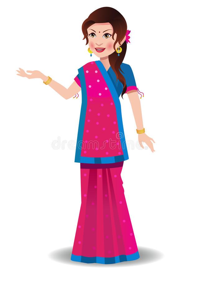 Indian Woman In Sari Clipart.