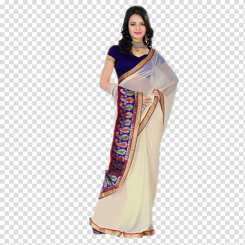 INDIAN MODEL IN SAREE, women\'s white and blue saree dress.