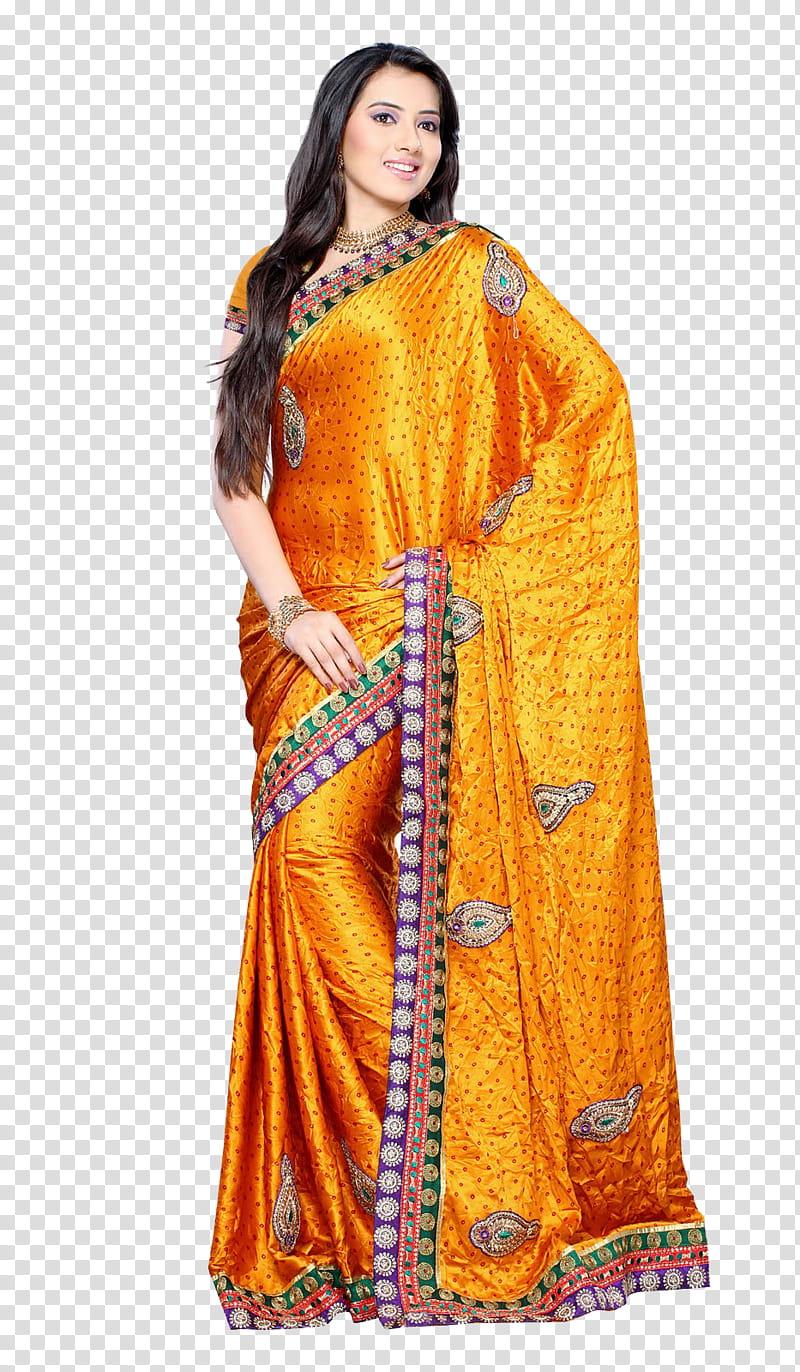 Indian saree Model File, gold and black floral saree.