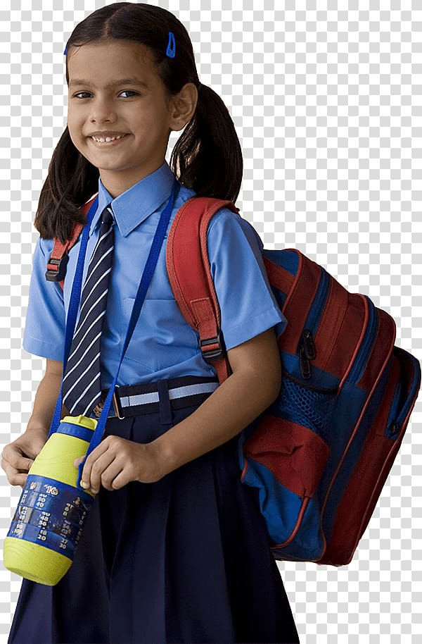Girl wearing school uniform and backpack, India School.