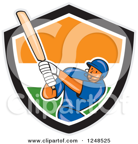 Clipart of a Cartoon Cricket Player Man Batting in an Indian.