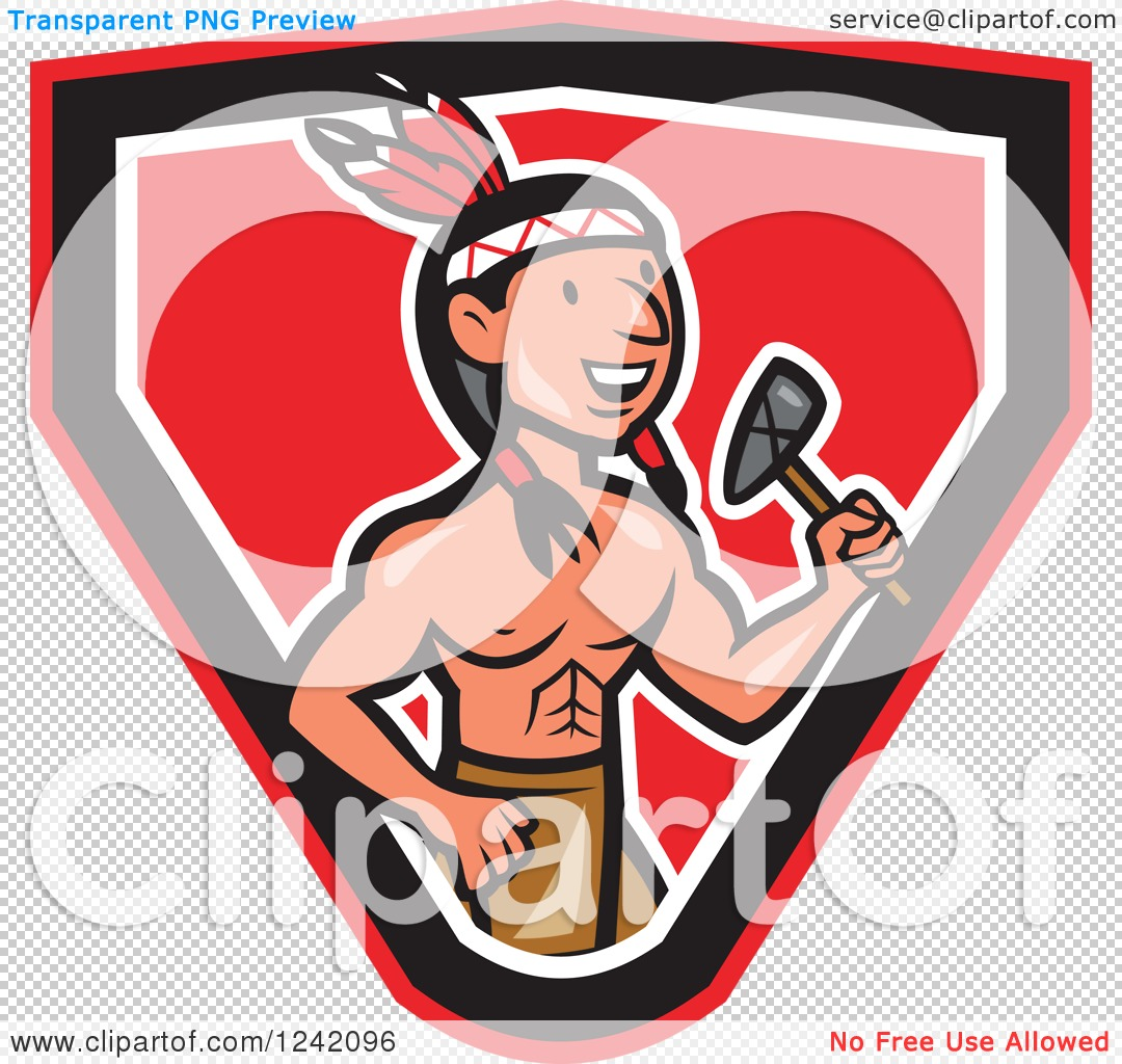 Clipart of a Cartoon Native American Indian Brave Holding a.