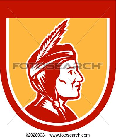 Clipart of Native American Indian Chief Shield Retro k20280031.