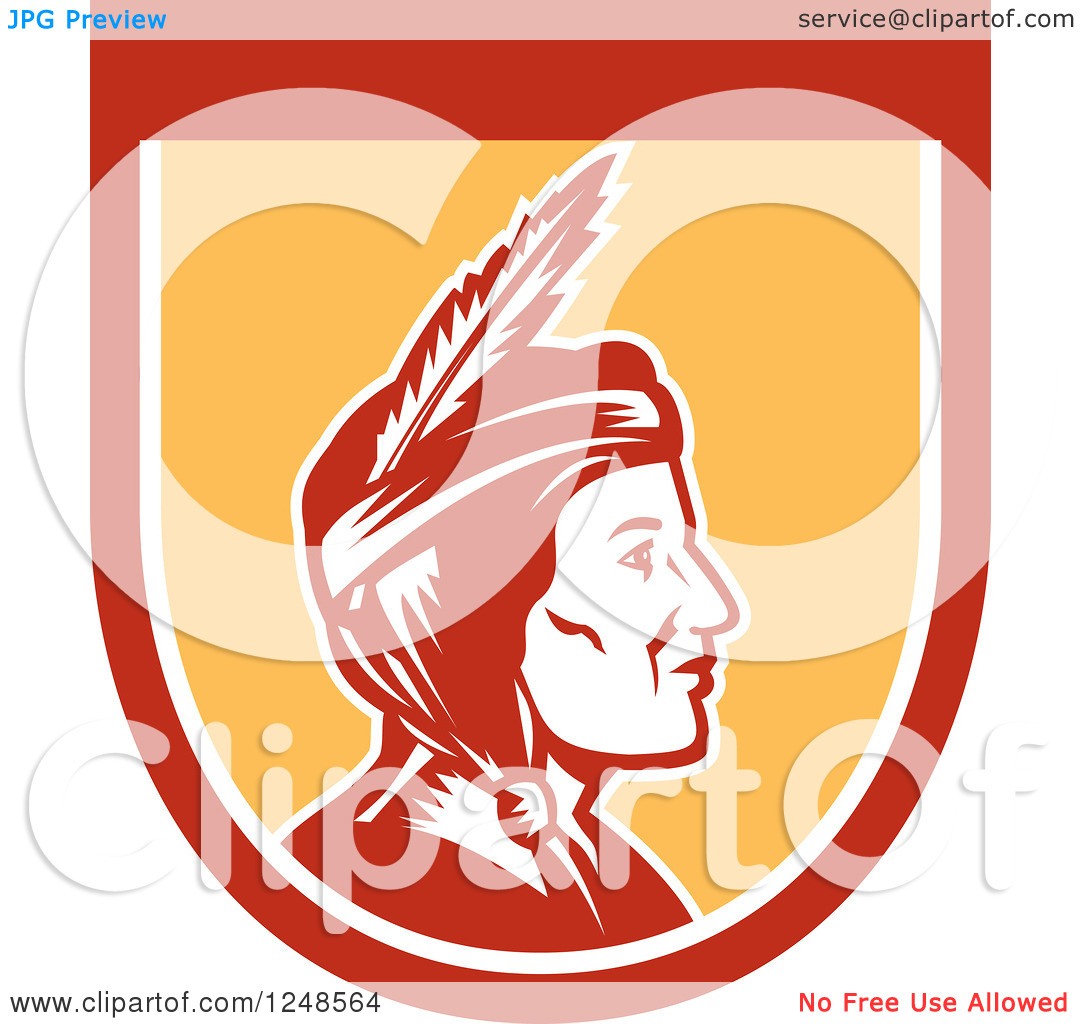 Clipart of a Retro Native American Indian Woman in Profile in a.