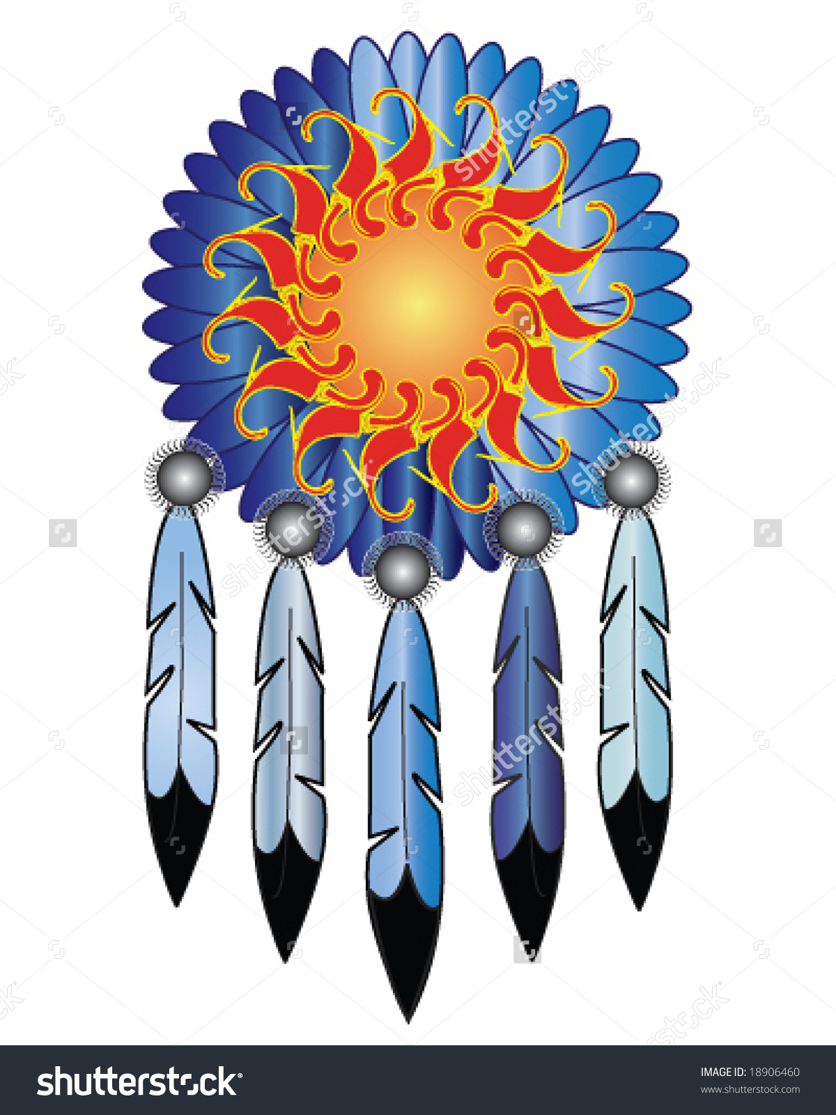 Vector Native American Indian Medicine Shield Stock Vector.